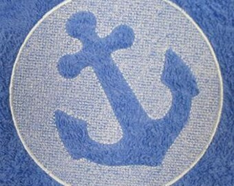 2 embroidered hand towels - embossed style anchor - 15 x 25 inch terry cloth for kitchen / bath