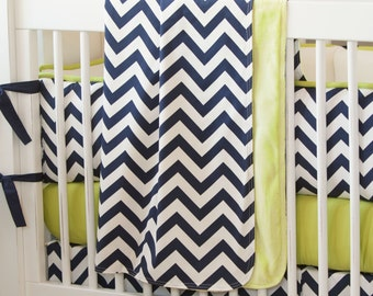 Boy Baby Crib Bedding: Navy and Citron Zig Zag Crib Blanket by Carousel Designs