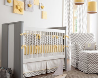 Neutral Crib Bedding, Girl Baby Crib Bedding, Boy Baby Bedding: Gray and Yellow Zig Zag Crib Bedding - Fabric Swatches Only