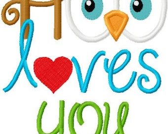 Valentine's Day Embroidery Applique Design Hoo Loves You BOY with heart and Owl Digital Instant Download 4x4 and 5x7