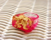 VALENTINE'S DAY Resin Ring Raspberry Pink, Gold Leaf Ring, 2015 Jewelry Fashion Trends, Hot Pink Resin Ring, Modern Jewelry, ResinHeavenUSA