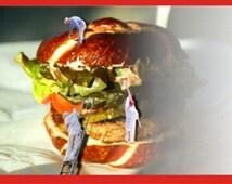 Happy Birthday Burger Card, Hamburger Lover Card, Will Mail Card For You, Personalized Greeting Card, Original Artwork,  ResinHeavenUSA