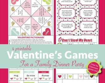Printable Valentine's Games for a Family Dinner Party or Classroom Fun