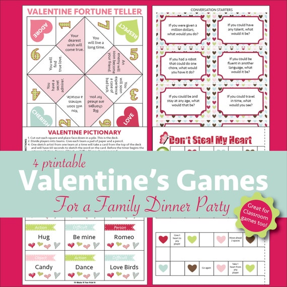 Printable Valentine's Games For A Family Dinner Party Or