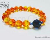 Orange Fireopal Blue Black Crystal Bracelets Swarovski Handmade Unique