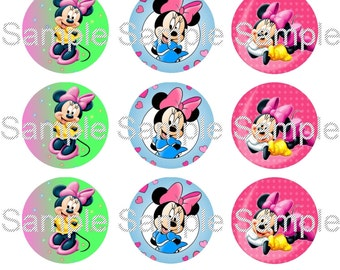 "15 1"" - Precut Bottle Cap Images - Minnie Mouse Inspired"