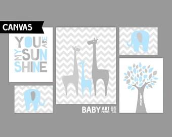 Light Blue and grey, Boy Nursery canvas art prints, Set of 5, Giraffe, Elephant, Tree, You are my sunshine ( MS003 )