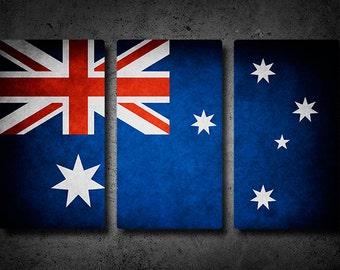 Australia Flag Triptych (w/ Free Shipping!)