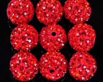 10Pcs 10mm Polymer Clay with Rhinestone Loose Bead Pave Disco Crystal Ball Beads Spacer Findings - Red