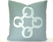 Aqua Pillow - Aqua Velvet and Linen Geometric Applique