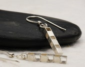 Geometric Sterling Silver Earrings, Modern Handmade Jewelry, Square Silver Dangle Earrings
