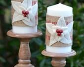Poinsettia Candle Wraps - Jute & Felt Christmas Decor - Set of Two