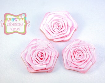 Light Pink Satin Rolled Rosette 3 Pieces #D104