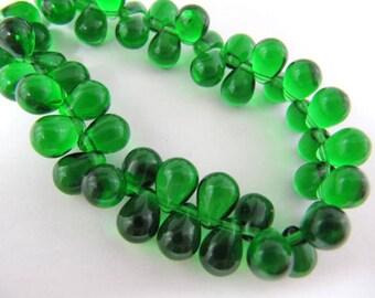 Glass Czech Drop Beads, 8x6mm, Emerald Green, 50 Piece, Beading, Jewelry Making Supply, Earrings, Custom Smaller Quantities 08 cent each