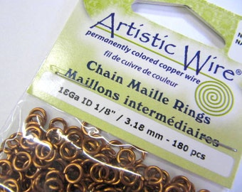 """Jump Rings, Copper, 18 Gauge, 1/8"""",3.18 MM.  180 Pieces, Jewelry, Bracelet, Necklace, Chain Maille Projects, Jump Rings"""