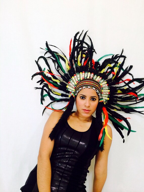 Items similar to Green Yellow and red headdress / burning man/ EDC / Coachella / rave outfit ...