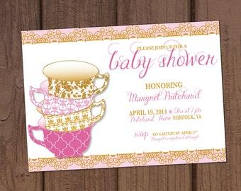 Vintage Tea Party Baby Shower Invitation