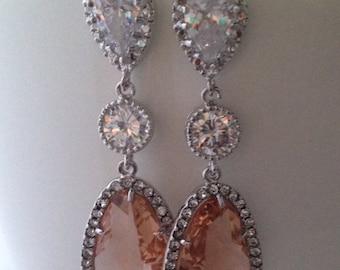 Champagne Earrings Statement Earrings, Gold Long Bridal Earrings,Clear Cubic Zirconia Earrings, Bridal Earrings, Bridal Wedding, Bridal Jewe