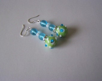 OOAK  Green Bumpy Lampwork Earrings