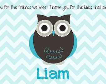 Personalized Placemat - Kids Placemat - Childrens Placemat - Childs Placemat - Laminated Placemat - Baptism Gift - Chevron Owl Boy