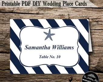 Instant Download- Printable PDF DIY White & Navy Nautical Starfish Beach Wedding Tent Style Template 4 Place Cards Per Sheet