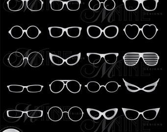 SILVER EYEGLASSES Digital Clipart Glasses Vector Clipart Design Elements, Instant Download, Clip art
