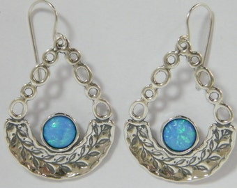 Sterling Silver Drop Shape Leaf Branch Earrings With Opal