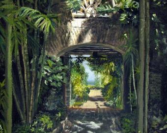 Breezeway At The Kampong - Landscape, Oil Painting, Impressionism