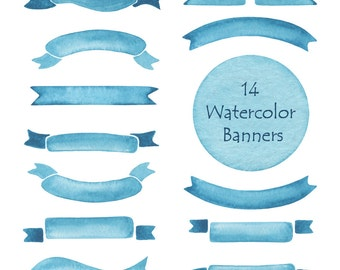 Watercolor Ribbons Clipart,  Banners clip art, Sky ribbons, Personal and Commercial Use
