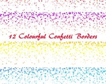 Colourful Confetti Borders, Digital Confetti border, confetti digital border edge, Dots border, Personal and Commercial use