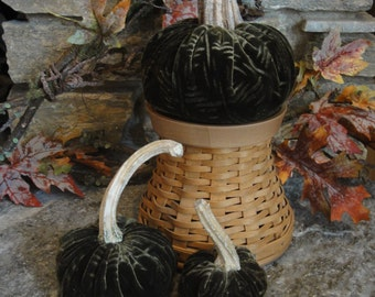 Handmade Rich Forest Green velvet pumpkins with real dried stems. Velvet acorns with real acorn caps.