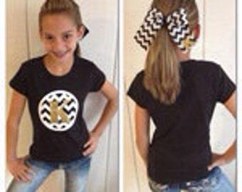 Custom Chevron Monogram School Spirit Shirt & Matching Bow, Pick your Color