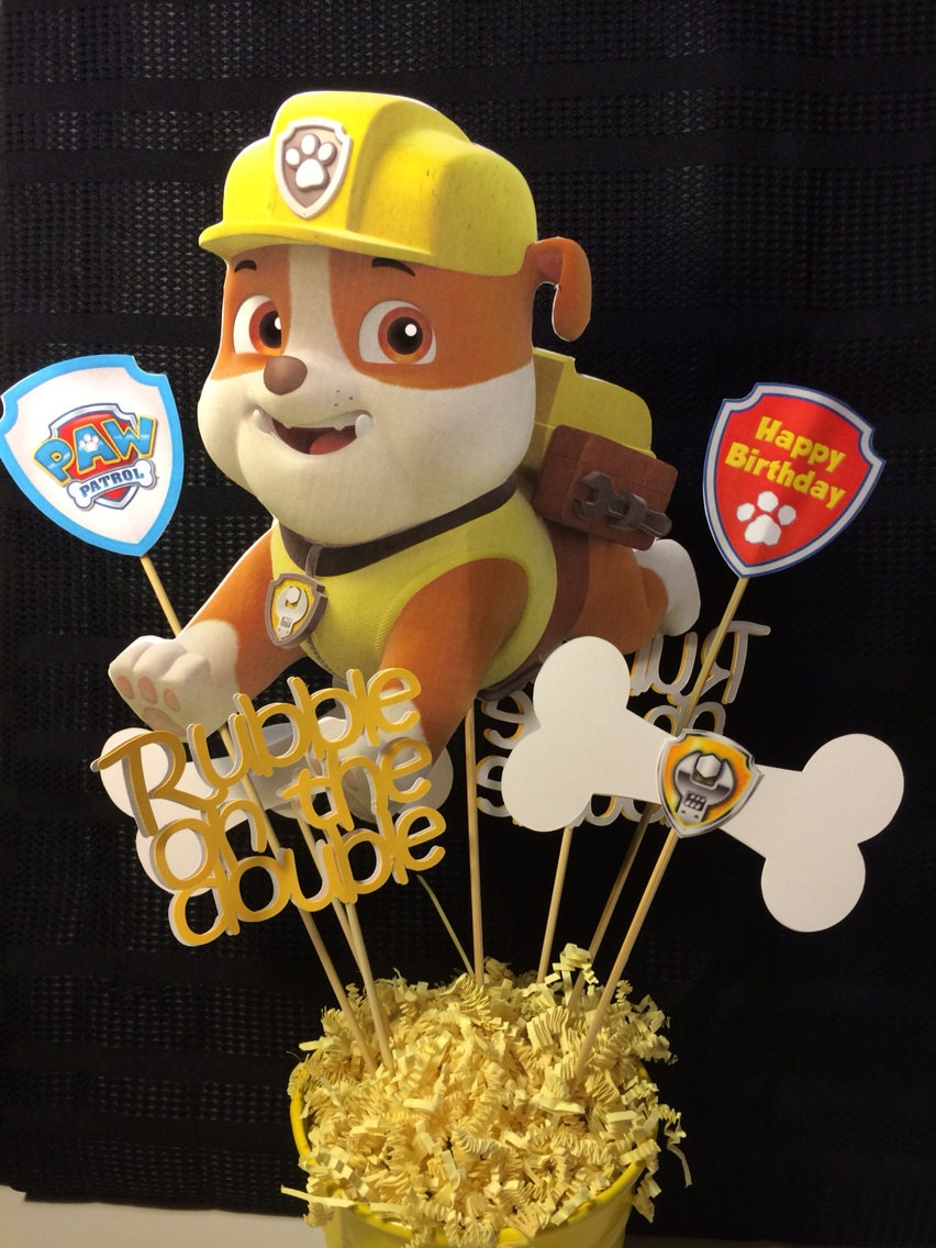 Paw Patrol Rubble Party Centerpiece Inserts By