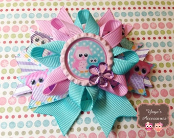 Owl Hair Bow -  Pastels Bow - Pink, Blue, Lavender