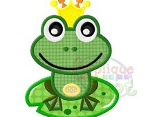 Frog Prince Bab Boy 4x4 5x7 6x10 Applique Design Embroidery Machine -Instant Download File