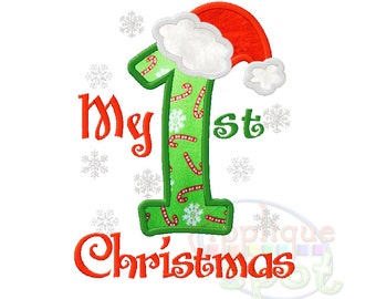 My First Christmas 1st  4x4 5x7 6x10 Applique Design Embroidery Machine -Instant Download File