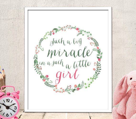 Nursery Art Baby Girl - miracle in a such a little girl quote, nursery art printable, nursery quote, printable quote, baby nursery, (90)