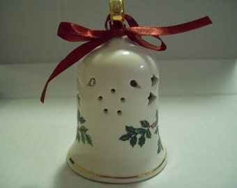 Baum Brothers Formalities Christmas Porcelain Bell with Holly Berries