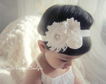 White Baby Girl Headband,Girl,Christening,Bridal..Headband