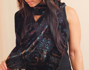 Hand made silk velvet  burnout scarf, with paisley design.