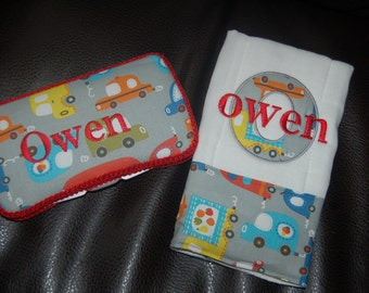 Custom Personalized car wipe case and burp cloth Baby boy shower gift set GET it PERSONALIZED