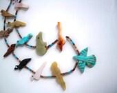 Zuni Fetish Necklace. Extra Long. Eagle, Lizard, Fish, Bird, Wolf. Multi-Stones.