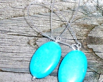 Amber - Turquoise Howlite Oval Gemstone Beaded Dangle Silver Kidney Hoop Earrings - Long Large