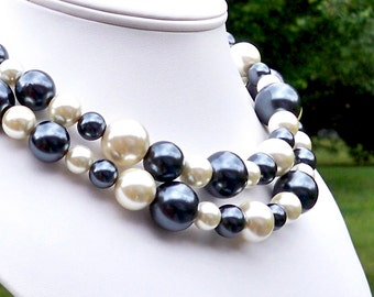 Giles - Long Gray Blue and Cream Pearl Beaded Necklace - Can Be WORN MULTIPLE WAYS - Single or Double Strand - 10mm to 18mm Round Pearl Mix