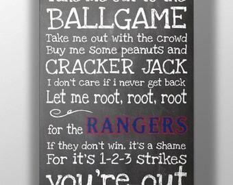 Texas Rangers- Take Me Out to the Ballgame Chalkboard Print