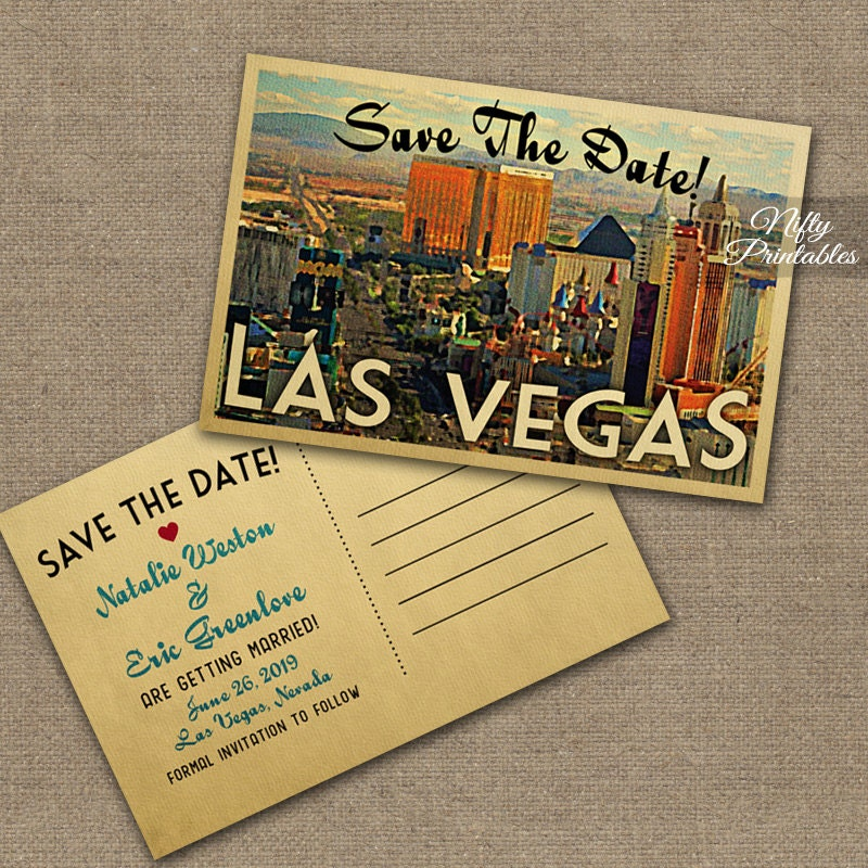 Las vegas save the date postcards vintage travel vegas save for Wedding invitations las vegas nv