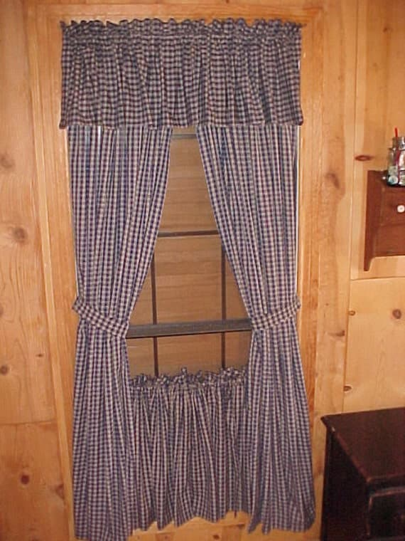 Items Similar To Country Primitive Navy Blue Plaid Homespun Curtain Panels 72 Long Rustic