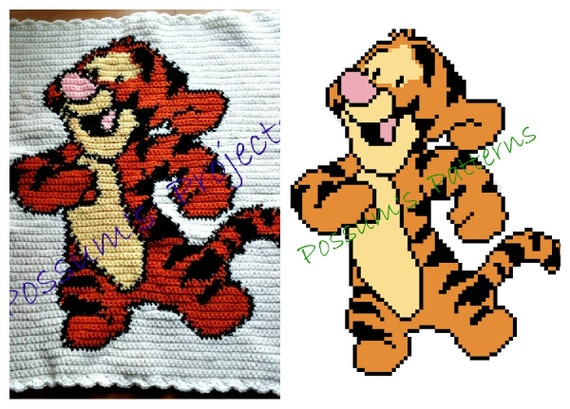 Patons Free Knitting Patterns Sweaters : Tigger Baby Blanket Pattern from PossumsPatternsnStuf on Etsy Studio