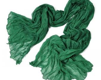 Dark Green Voile Crinkle Scarf