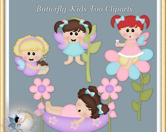 Butterfly Fairy Clipart, Girls, Fantasy, Commercial Use Digital Scrapbook
